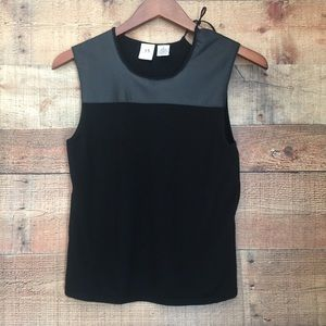 A/X Armani Exchange Black Top with Leather Details